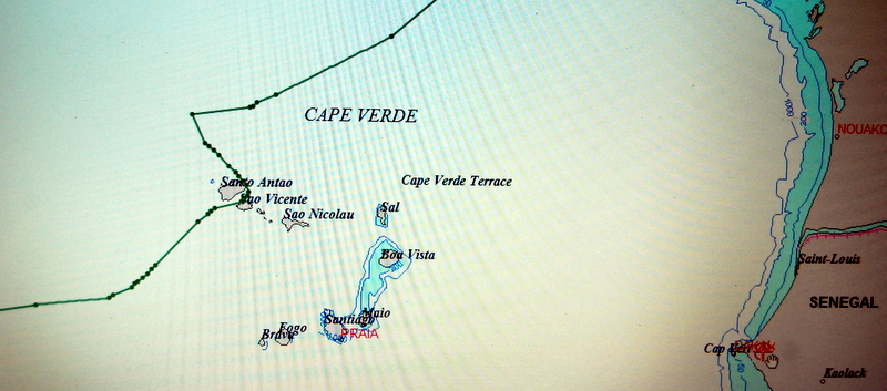 Derrota del Ju a su paso por Cabo Verde.